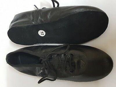 JAZZ DANCE SHOES LACES BLACK LEATHER FULL SOLE Girls Childs Ladies