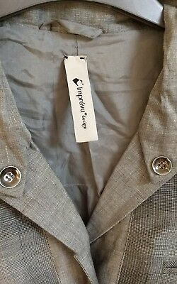 Imprevu Grey Unisual Linen Blend Lightweight Jacket Ladies Womans Size 10