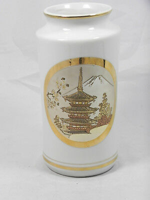 Vintage Black Japanese Porcelain The Art Of Chokin 24k Gold Vase