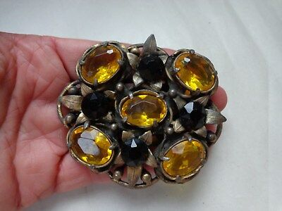 Big Antique Faceted Yellow Black GLass Stones Round Flower Pin