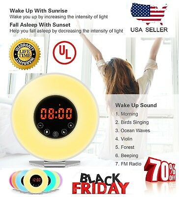 Wake Up Light Alarm Clock Digital LED 6 Color Switch Radio Sunrise Natural Bed