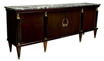 LARGE FRENCH EMPIRE STYLE MAHOGANY & MARBLE SIDEBOARD, Vintage