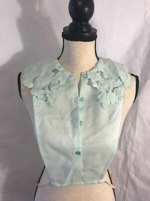 Vintage Embroidered  Lace Dickie Mint Green  Blouse Dress 4 Button Antique