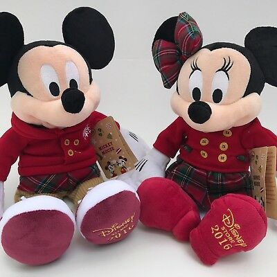 """Disney Store Mickey & Minnie Mouse Holiday 16"""" Plush  Stuffed Christmas RETIRED"""