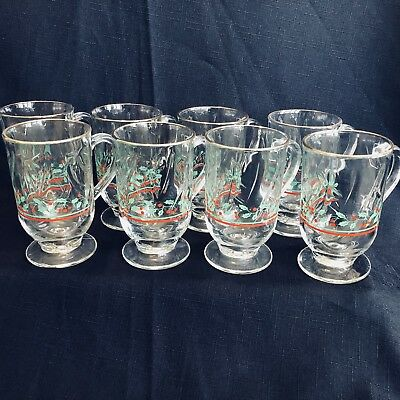 8 Vintage Arby's Libbey Glasses Holly Berry Irish Coffe Mug Gold Holiday 1980's