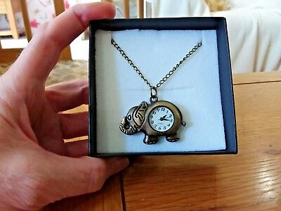 Brand new antique gold look necklace with an elephant watch pendant in gift box