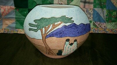 Vintage Retro Pueblo Mexico Indian Plant Hand Painted Htf Mosaic Sand Paint Vase