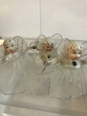 3 Vintage LEFTON Christmas ANGELS Ornament,Mesh Wings Pipe Cleaner~CHENNILE