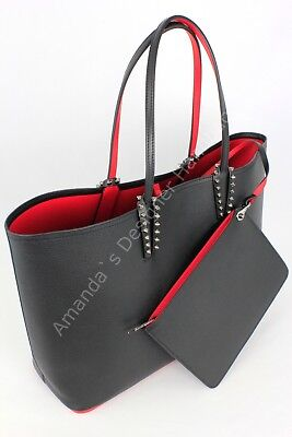078858548361 AUTHENTIC CHRISTIAN LOUBOUTIN Cabata Tote Patent Leather Black   Red ...