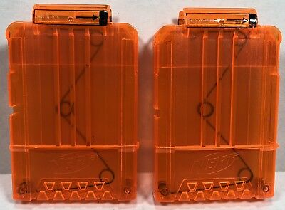 Nerf Star Wars Lot Of 2 Six Dart Magazine Clip Clear Orange Rare Cosplay Blaster