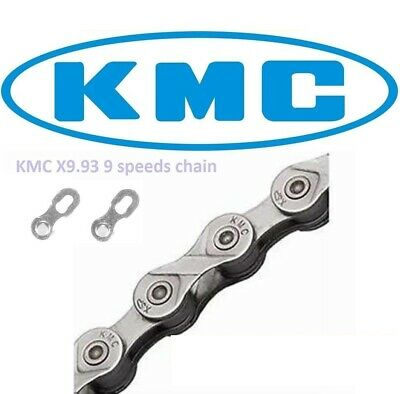 [S] Retail KMC X9.93 CHAIN 9 SPEED 116L BICYCLE SILVER/GREY FOR SHIMANO & SRAM