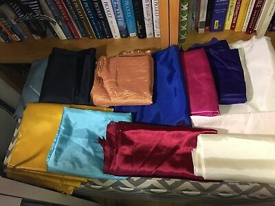 Lot of SATINS SILKS mostly vintage, all solid colors, 20 YARDS!