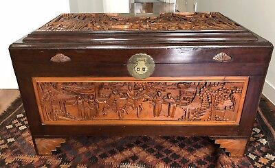 Large Vintage Camphor Chest Carved Asian Chinese Blanket Storage Box Wood Brass