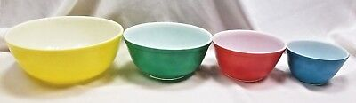 4 pc SET VINTAGE PYREX PRIMARY COLORS NESTING MIXING BOWLS #401 402 403 404  EXC