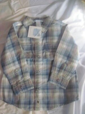 Janie & Jack Boys Blue, Gray White, Tan, Gray Plaid Shirt Size 18-24 Months