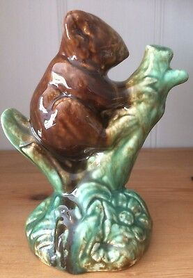 Vintage Koala in Tree Figurine Australian Pottery 1950s Brown Green Glazed