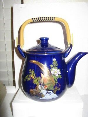 Blue Porcelain Japanese Peacock Tea Pot with Handle