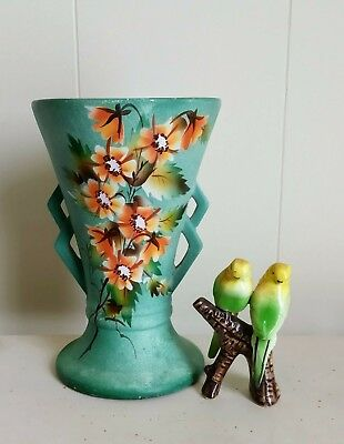 Beautiful Vintage Art Deco Rossleigh Hand Painted Blossoms Green Vase 20-40s.