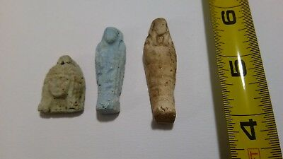b-  LOT OF 3 Ancient Egyptian Ushabti Faience Amulets 300 BC