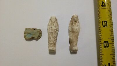 c-  LOT OF 3 Ancient Egyptian Ushabti Faience Amulets 300 BC