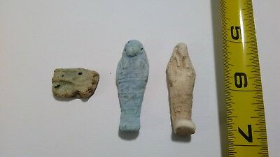 e-  LOT OF 3 Ancient Egyptian Ushabti Faience Amulets 300 BC