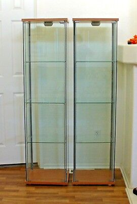 Two Ikea Detolf Gl Cabinets Display Shelfs With Doors Light Brown