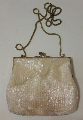 663811b797bf VINTAGE MAGID - Hand Made In Japan - White Beaded Evening Bag Clutch ...