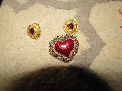 Valentines Heart Brooch Pin and earring set holiday avon vintage