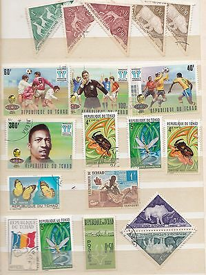 CHAD Republic Africa small selection stamps from album incl. FOOTBALL mint & CTO