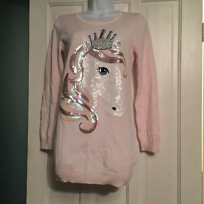 BLUEZOO - Long Sleeved Jumper Dress. Pink With Sequinned Horse, Age 12-13