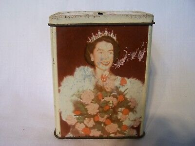 Vintage Money Box Queen Elizabeth Prince Charles Royalty Besters Sweets Tin