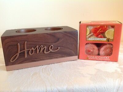 """Yankee Candle """"Home"""" T/L Holder & 12 """"Strawberry Lemon Ice"""" T Lights From USA"""
