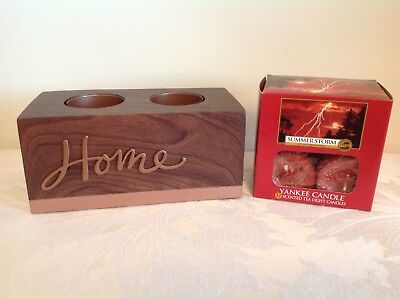 """Yankee Candle """"Home"""" T Light Holder & 12 """"Summer Storm"""" T Lights From USA"""