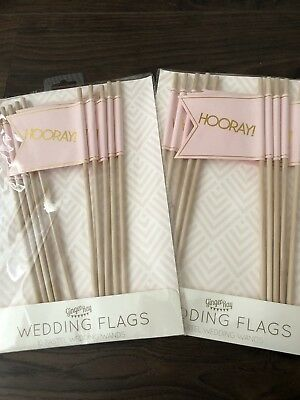 Ginger Ray Flags Hooray Pastel Perfection Pink And Gold Brand New 2 Packs