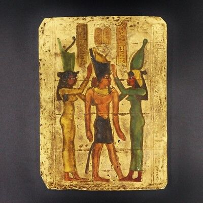 Wall Plaque OSIRIS With TUT HORUS EGYPTIAN STELA RELIEF Antique 1278-1242 BC