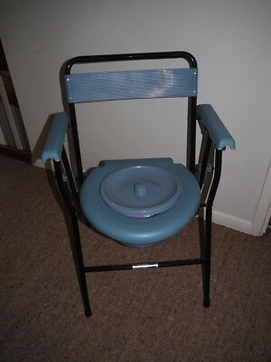 Folding Commode Chair Seat Backrest Mobility Aid Portable Toilet Support