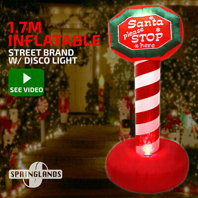 Inflatable Christmas Santa Stop Here Sign W/ Disco Light Xmas Decoration Outdoor