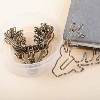 8 pcs/box Vintage Deer Metal Paper Clips Bookmarks Stationery Office Accessories