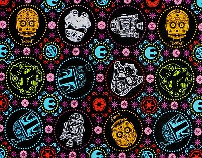 Fat Quarter  Star Wars Fabric  Sugar Skull Darth Vader R2D2 Cp3O Quilting Cotton