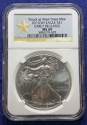 2015 (W) American Silver Eagle NGC MS69 Early Releases West Point Star Label 029