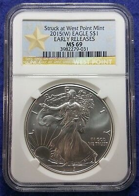 2015 (W) American Silver Eagle NGC MS69 Early Releases West Point Star Label