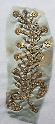"""Antique Gold Metallic Embroid. Frag. w/Gold Metal Spangles Branch 5 1/2"""" French"""