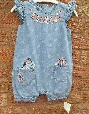 GIRLS ALL IN ONE DENIM EFFEC ROMPER/PLAYSUIT   9-12 months BRAND NEW & TAGGED