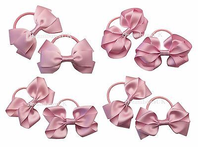 Baby pink grosgrain ribbon hair bows on thick bobbles/ties or alligator clips