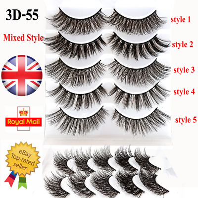 5/10 Pairs Mixed False Eyelashes Long Natural Fake Eye Lashes Set Mink Makeup UK