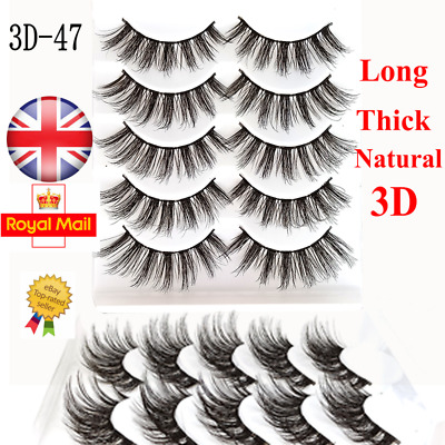 5/10 Pairs 3D Curl False Eyelashes Long Natural Fake Eye Lashes Set Mink UK