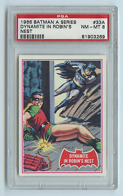 1966 Topps Batman Red Bat series card - Dynamite Robin #33a - PSA 8 NM Mint