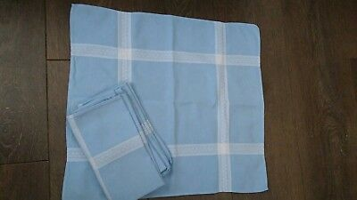 Set of 4x French Cotton Table Napkins Sky Blue & White Check Embroidery VGC