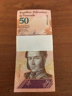VENEZUELA 20 or 50 BOLIVARES 2018 SOBERANO 100 PCS BUNDLE LEOPARD TIGER UNC NOTE