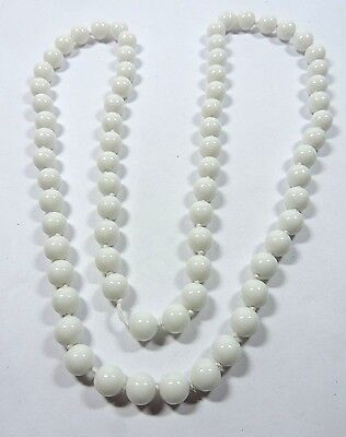 """New Old Stock White Round Stone Natural Bead Necklace 33"""" 10 mm  As Is  #FASH34"""